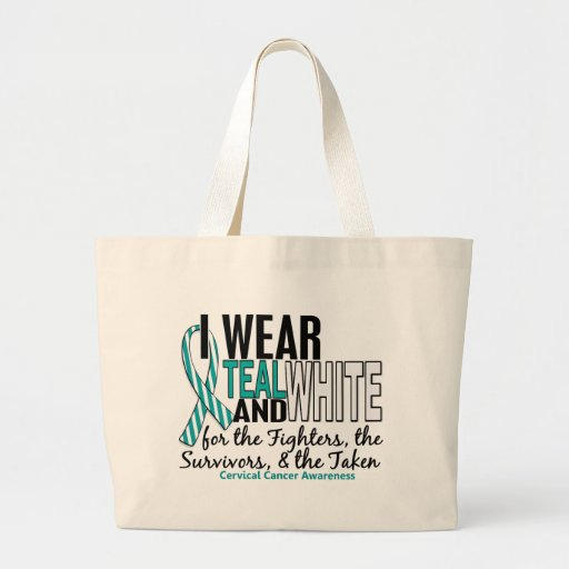 CERVICAL CANCER Teal White For Fighters Survivors Bags