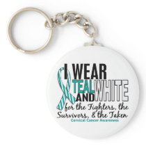 CERVICAL CANCER Teal White For Fighters Survivors Keychain