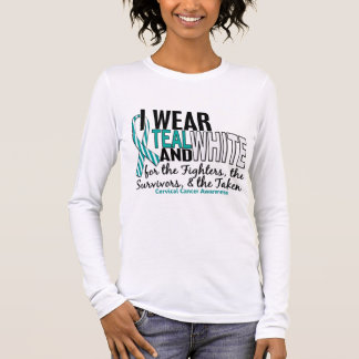 CERVICAL CANCER Teal White For Fighters Survivors Long Sleeve T-Shirt