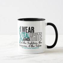 CERVICAL CANCER Teal White For Fighters Survivors Mug