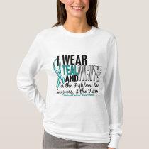 CERVICAL CANCER Teal White For Fighters Survivors T-Shirt