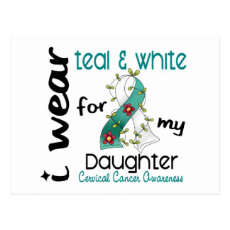 Cervical Cancer Teal & White For My Daughter 43 Postcard