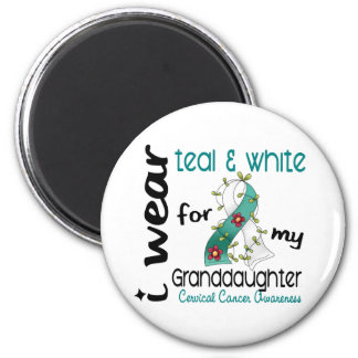 Cervical Cancer Teal & White For My Granddaughter 2 Inch Round Magnet