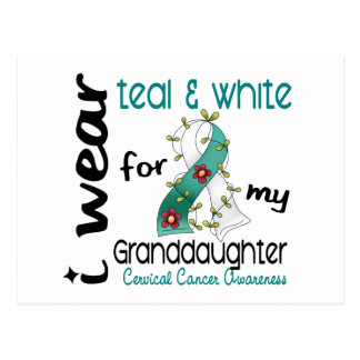 Cervical Cancer Teal & White For My Granddaughter Postcard