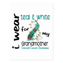 Cervical Cancer Teal & White For My Grandmother 43 Postcard