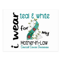 Cervical Cancer Teal & White For My Mother-In-Law Postcard