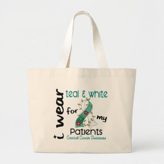 Cervical Cancer Teal & White For My Patients 43 Large Tote Bag