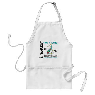 Cervical Cancer Teal & White For My Sister-In-Law Adult Apron