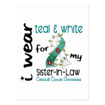 Cervical Cancer Teal & White For My Sister-In-Law Postcard