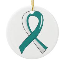 Cervical Cancer Teal White Ribbon 3 Ceramic Ornament