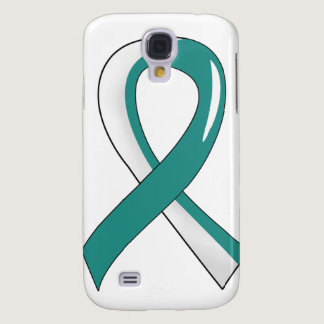 Cervical Cancer Teal White Ribbon 3 Galaxy S4 Case