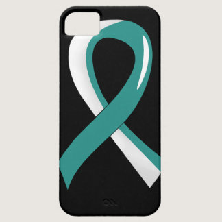 Cervical Cancer Teal White Ribbon 3 iPhone SE/5/5s Case