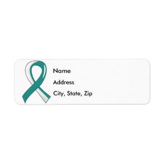 Cervical Cancer Teal White Ribbon 3 Label