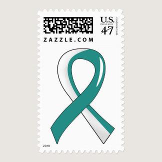 Cervical Cancer Teal White Ribbon 3 Postage