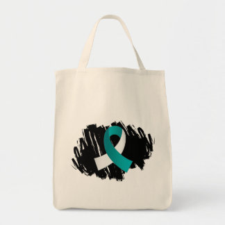 Cervical Cancer Teal White Ribbon With Scribble Tote Bag