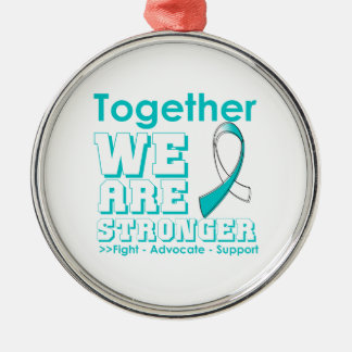 Cervical Cancer Together We Are Stronger Round Metal Christmas Ornament