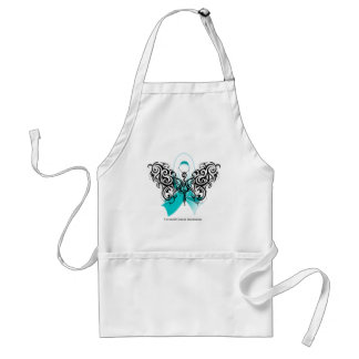 Cervical Cancer Tribal Butterfly Ribbon Adult Apron