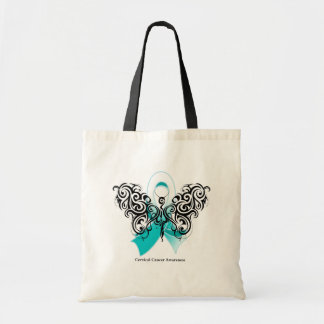 Cervical Cancer Tribal Butterfly Ribbon Tote Bags