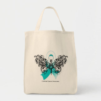 Cervical Cancer Tribal Butterfly Ribbon Tote Bag
