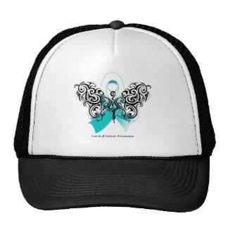 Cervical Cancer Tribal Butterfly Ribbon Trucker Hat