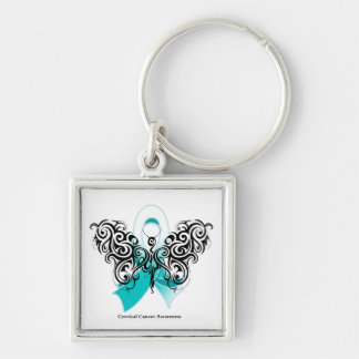 Cervical Cancer Tribal Butterfly Ribbon Key Chain