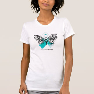 Cervical Cancer Tribal Butterfly Ribbon T-shirt