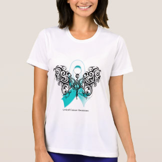 Cervical Cancer Tribal Butterfly Ribbon Tshirts