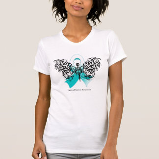 Cervical Cancer Tribal Butterfly Ribbon Tees