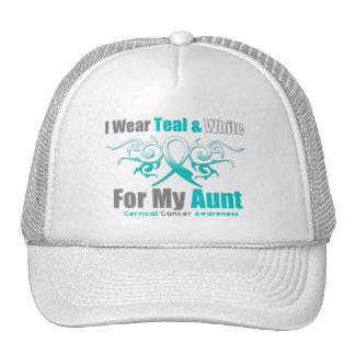 Cervical Cancer Tribal Ribbon Support Aunt Trucker Hat