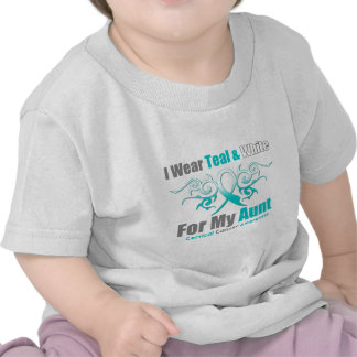Cervical Cancer Tribal Ribbon Support Aunt Tee Shirts