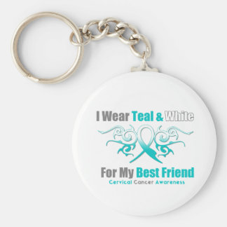 Cervical Cancer Tribal Ribbon Support Best Friend Keychains