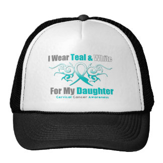 Cervical Cancer Tribal Ribbon Support Daughter Trucker Hat