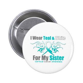 Cervical Cancer Tribal Ribbon Support Sister Pinback Button