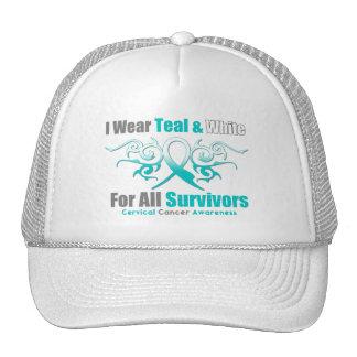 Cervical Cancer Tribal Ribbon Support Survivors Trucker Hat