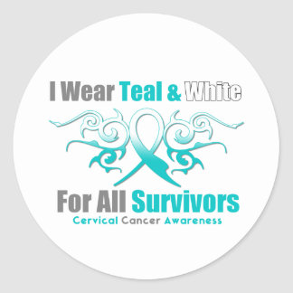 Cervical Cancer Tribal Ribbon Support Survivors Stickers