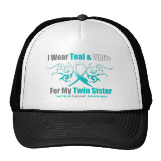 Cervical Cancer Tribal Ribbon Support Twin Sister Trucker Hat