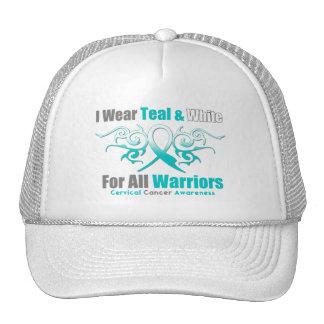 Cervical Cancer Tribal Ribbon Support Warriors Trucker Hat