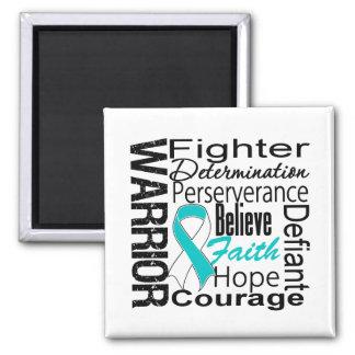 Cervical Cancer Warrior Collage 2 Inch Square Magnet