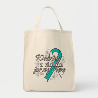 Cervical Cancer Wearing a Ribbon For My Hero Grocery Tote Bag