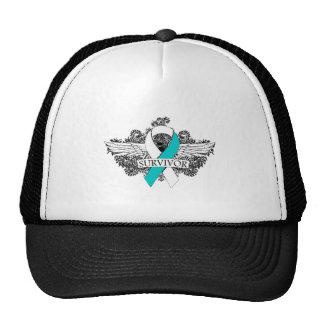 Cervical Cancer Winged SURVIVOR Ribbon Mesh Hat