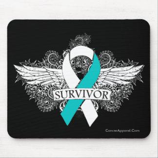 Cervical Cancer Winged SURVIVOR Ribbon Mouse Pad