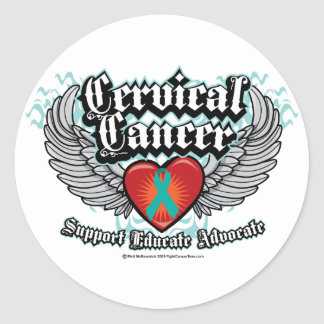 Cervical Cancer Wings Classic Round Sticker