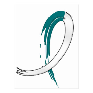 Cervical Cancer's Teal and White Ribbon A4 Postcard