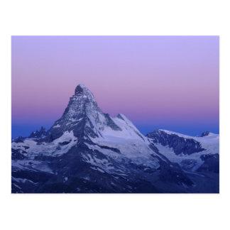 Cervino en el amanecer, Zermatt, montañas suizas, Postal