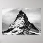 Cervino, montañas blancos y negros póster