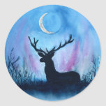 "Ceryneian Hind Classic Round Sticker<br><div class=""desc"">Watercolor and silver ink. The sacred stag of Artemis. Because Artemis is a lunar goddess I chose to represent the deer at night antlers framing the moon. The Hind was said to have golden antlers and hooves of bronze.</div>"