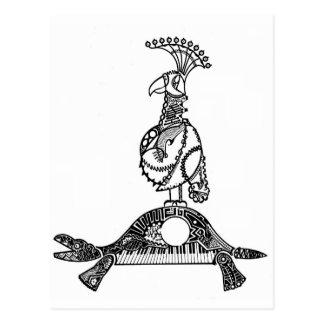 César que cruza el Rin loro y tortuga Postal