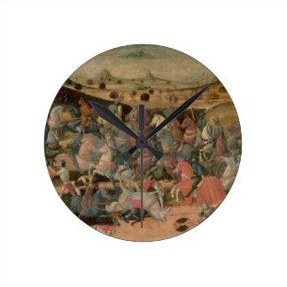 César que triunfa en la batalla tempera en el pan reloj de pared