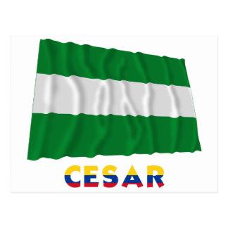 Cesar Waving Flag with Name Postcard