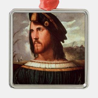 Cesare Borgia  Duke of Valencia Square Metal Christmas Ornament